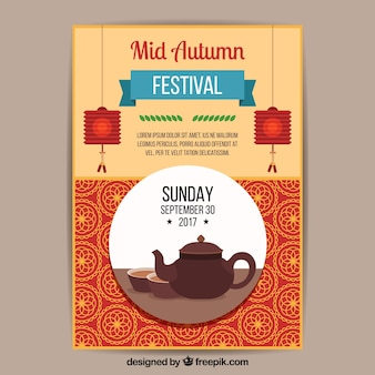 Mid autumn festival poster with teapot