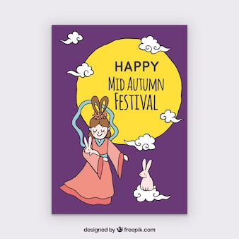 Mid autumn festival with moon, rabbit and woman