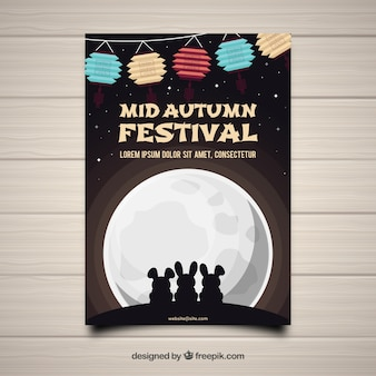 Mid autumn festival with rabbits and full moon