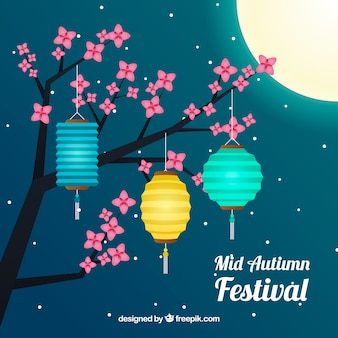 Middle autumn festival, scene with flowers and lanterns