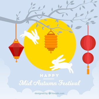 Middle autumn festival, two rabbits jumping