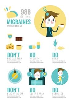 片頭痛Infographics。フラットデザイン要素。ベクトルイラスト