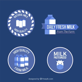 Milk blue labels with white details