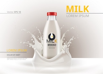 Milk bottle package mock up Realistic Vector. Liquid splash background