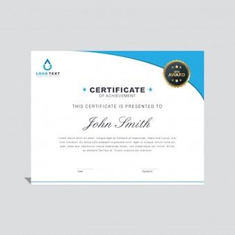 Minimal blue wavy certificate template
