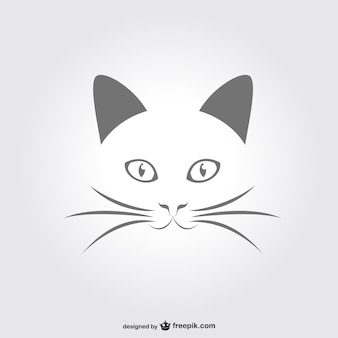 Minimal cat portrait vector