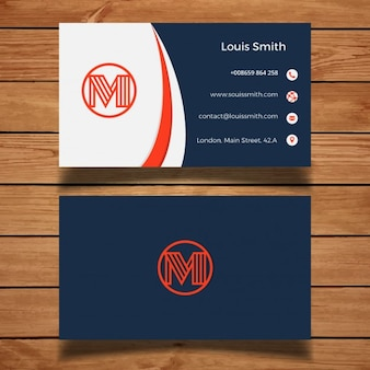 Minimal red and blue business card