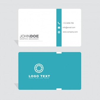 Minimal white and blue business card