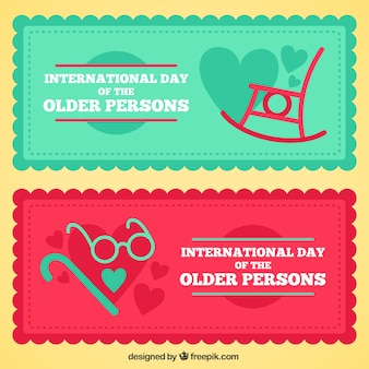 Minimalist banners for the day of the older persons