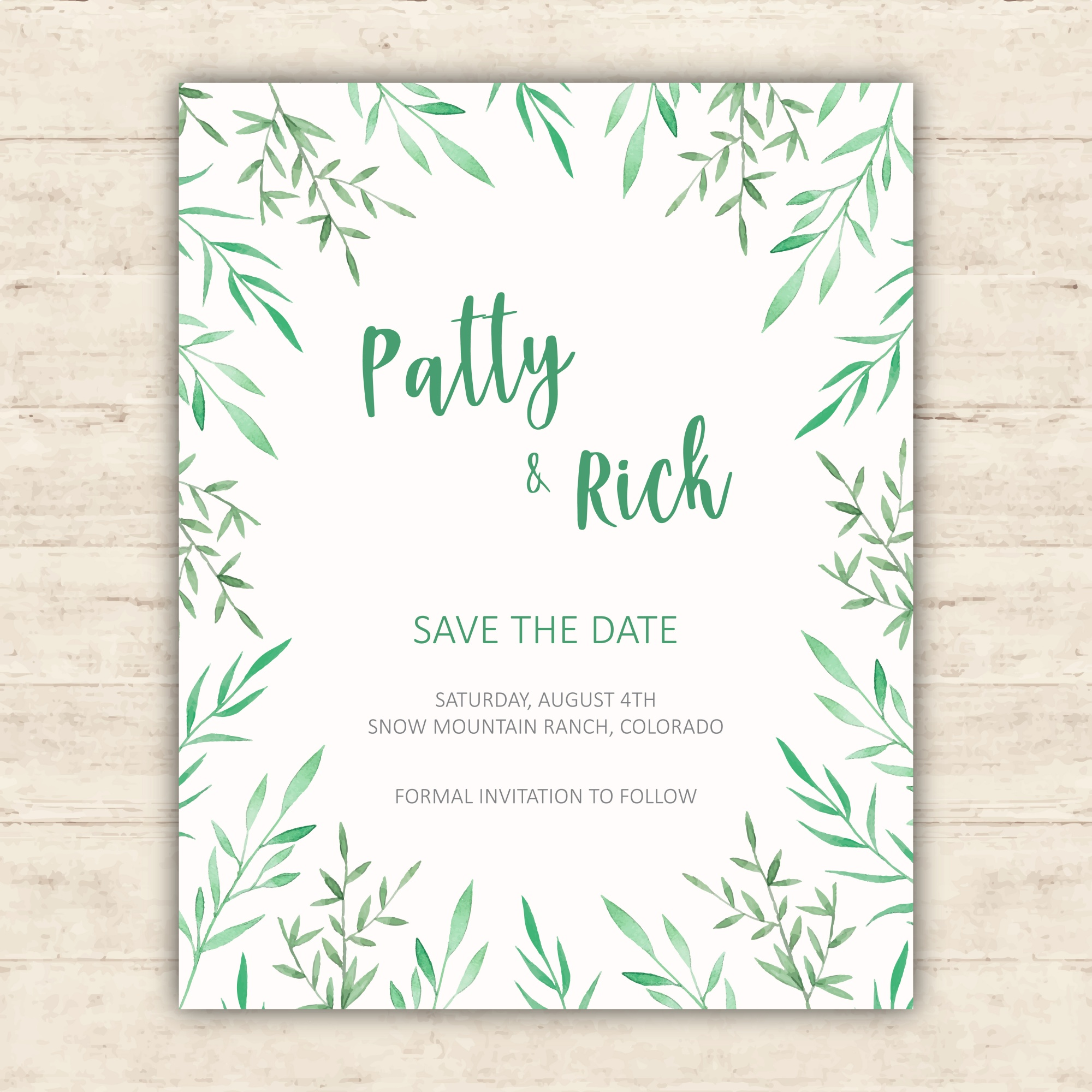 Minimalist botanical save the date card