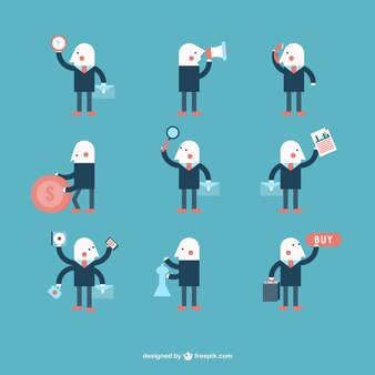 Minimalist businessman character design vector set