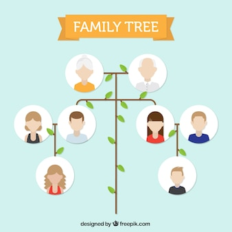 Minimalist family tree in flat design