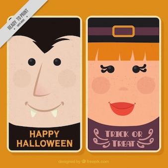 Minimalist halloween cards in flat style