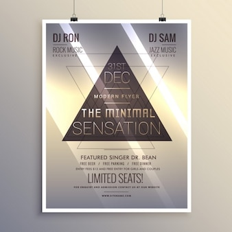 Minimalist party poster with triangles