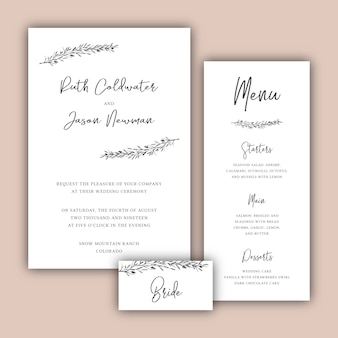 Minimalist wedding cards set with botanical illustrations