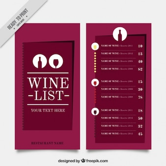 Minimalist wine list