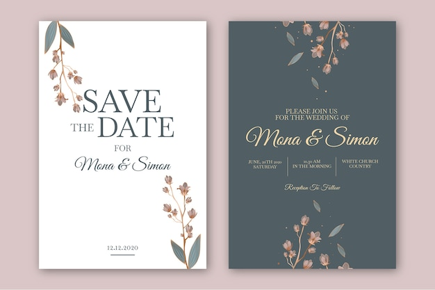 Minimalistic floral wedding invitation template