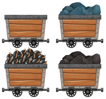 Mining carts with stones and bombs illustration