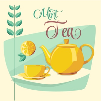 Mint tea illustration