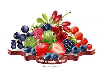 白い背景で隔離された新鮮な果実のミックス
