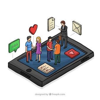 Mobile and communication in isometric perspective