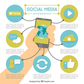 Mobile and social media infographic elements