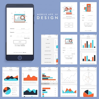 Mobile app design with charts