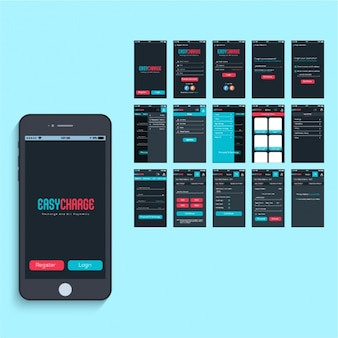 Mobile app design with color details