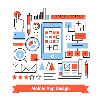 Mobile app development process concept