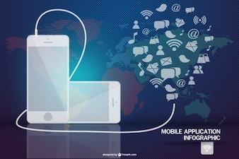 Mobile application infographic connected to different apps