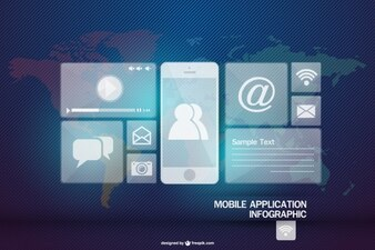 Mobile application infographic with smartphone and icons
