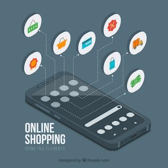 モバイル・バックグラウンドと等尺性のオンラインショッピング