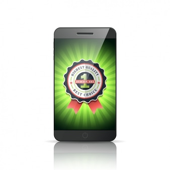 Mobile phone with a badge