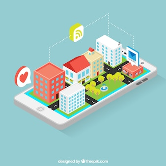 Mobile with smart city in isometric perspective