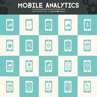 Moblile analytics flat icons