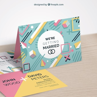 Mockup wedding invitation in memphis style