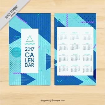 Modern 2017 calendar in memphis style