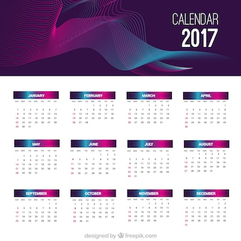 Modern abstract 2017 calendar template