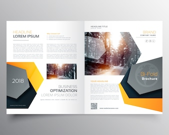 Modern abstract bifold business brochure template or magazine cover page design