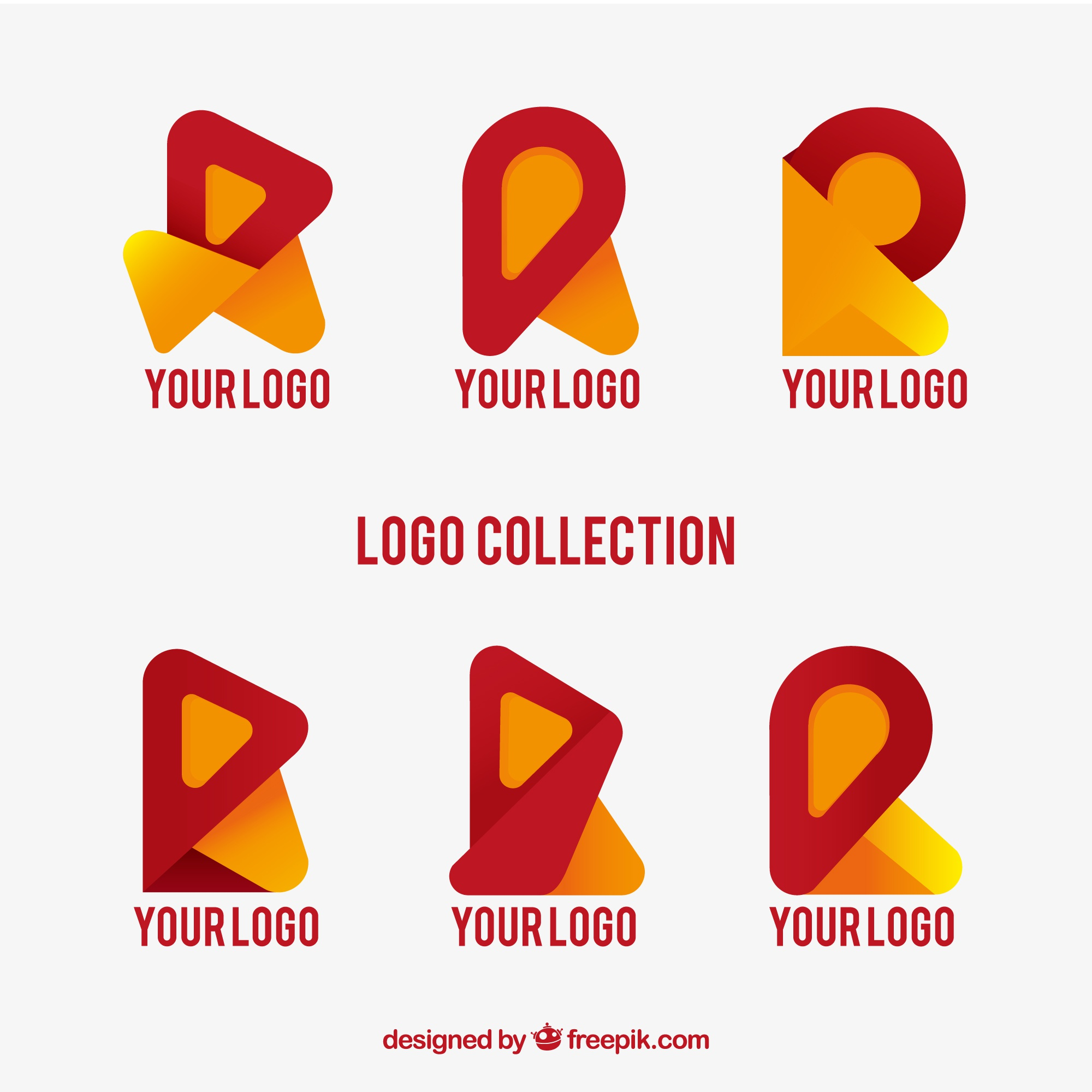 Modern abstract logos set