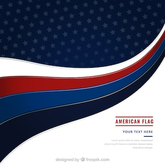 Modern american flag with wavy forms