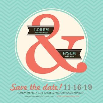 Modern ampersand wedding invitation with chevron background