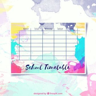 Modern and colorful school timetable