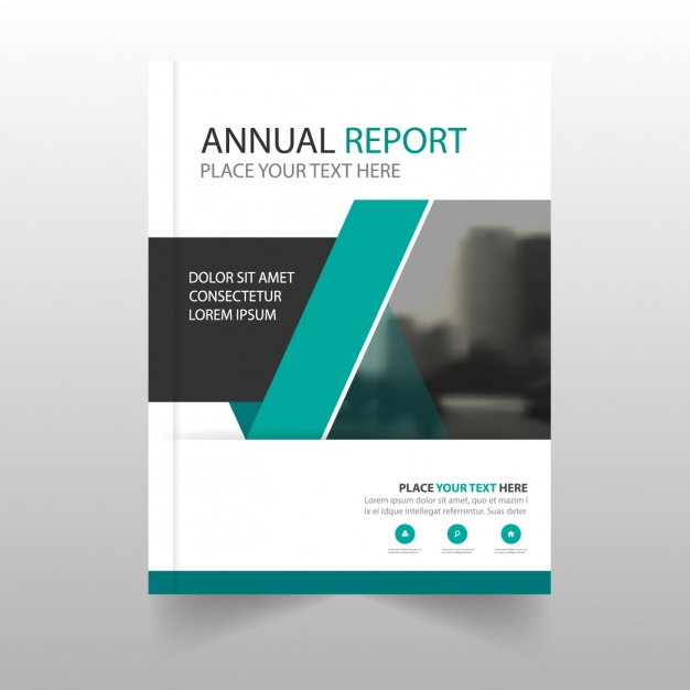 Modern annual report with geometric shapes