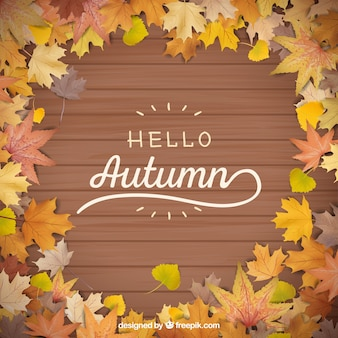 Modern autumn background with realistic leaves