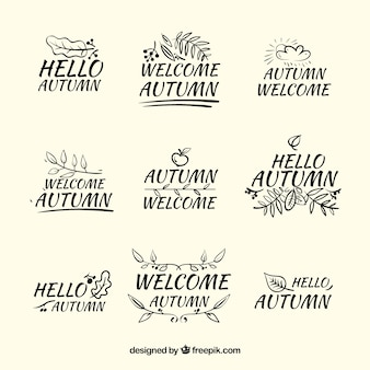 Modern autumn labels with hand drawn style