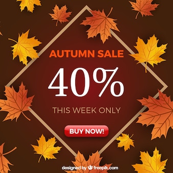 Modern autumn sale background with leaves