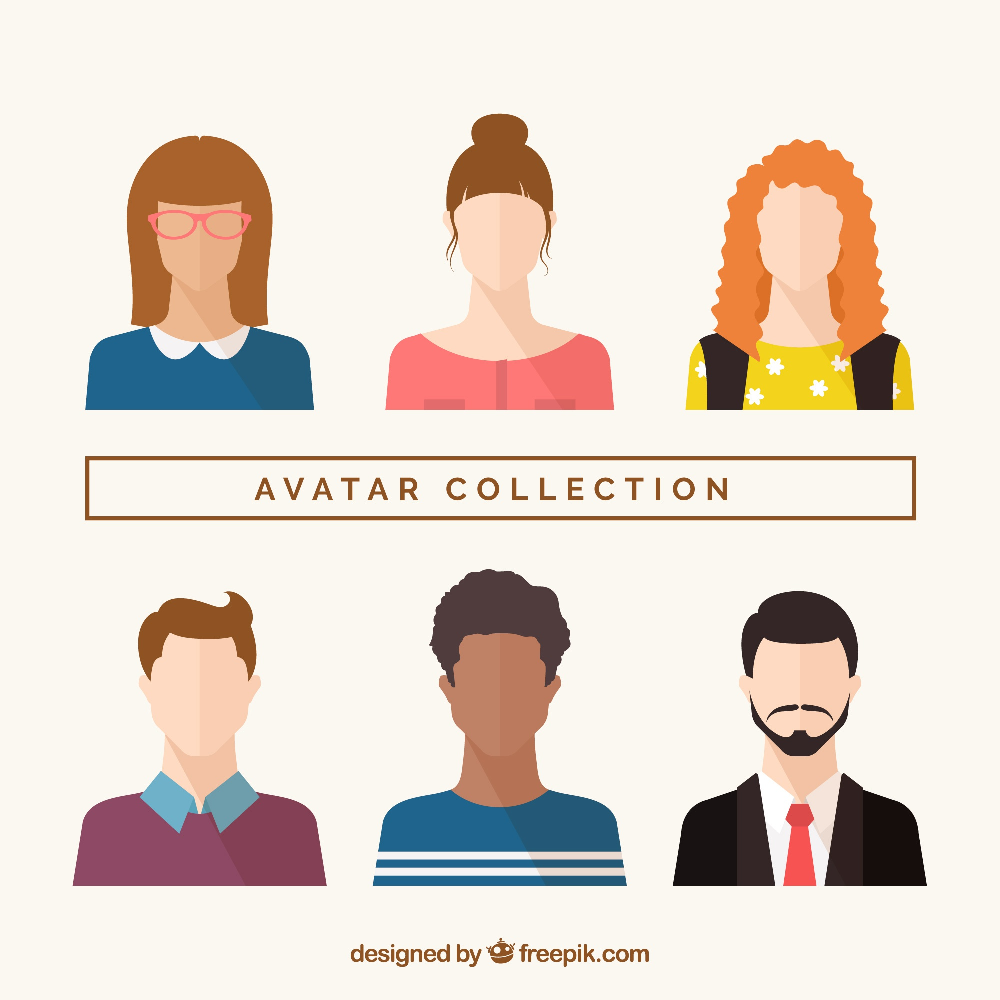 Modern avatar collection with flat design