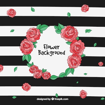 Modern background with hand drawn roses
