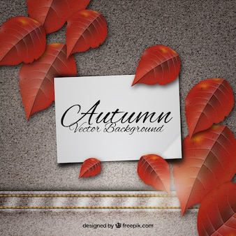 Modern background with realistic autumn leaves
